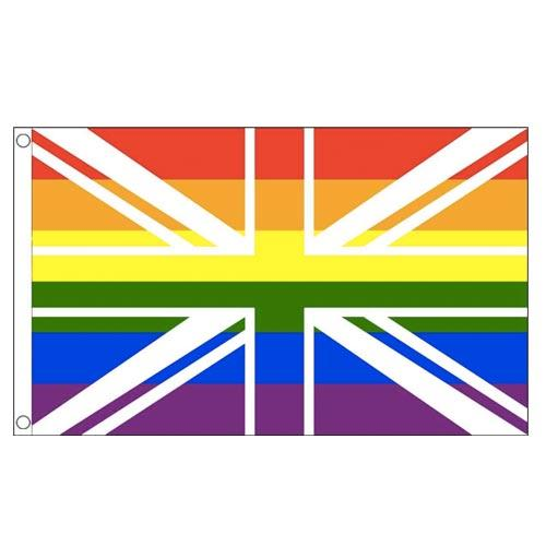 MUOBU Gay Pride Rainbow Union Jack Flag (3ft x 5ft) - MUOBU