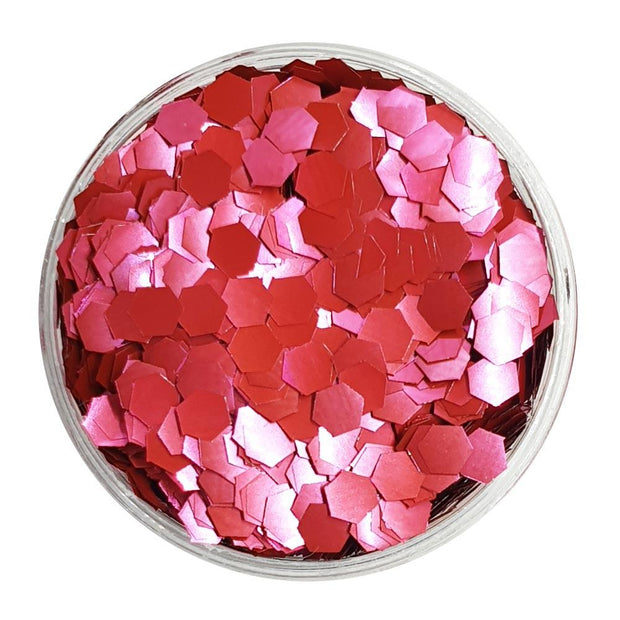 MUOBU Biodegradable Blush Red Glitter (Chunky Hexagon Metallic Glitter) - BioConstant Craving - MUOBU