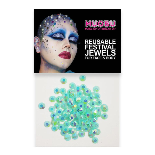 MUOBU Mermaid Diamantes - Turquoise Iridescent Face & Body Gems 4mm - MUOBU