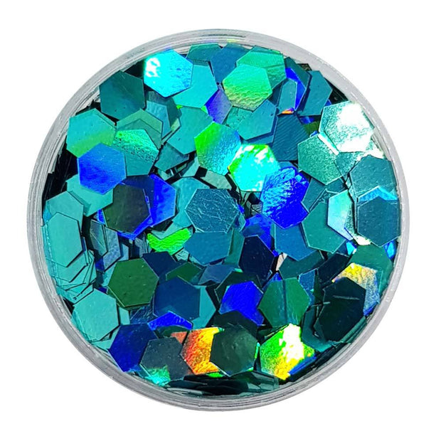 Turquoise Large Flake Glitter (Holographic Glitter Hexagons) - Mermaid Tantrums