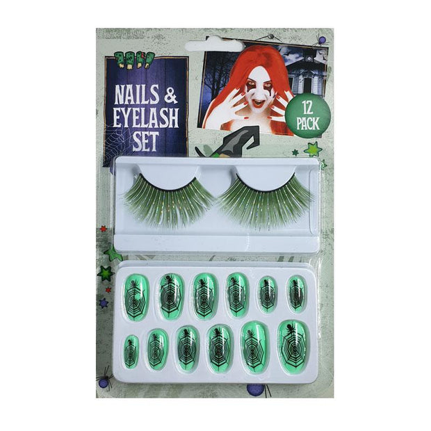 Henbrandt Halloween Fake Eyelashes & Spiderweb False Nails Set - Green - MUOBU