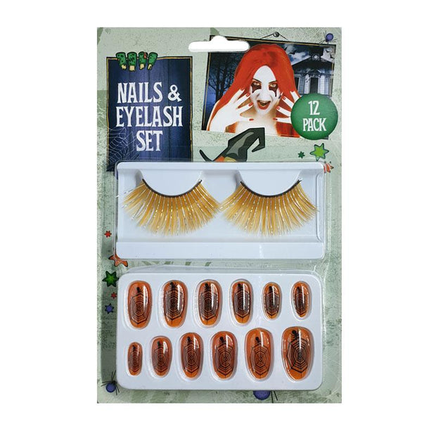 Henbrandt Halloween Fake Eyelashes & Spiderweb False Nails Set - Orange - MUOBU