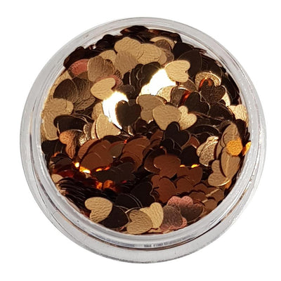 MUOBU Rose Gold Glitter Hearts (Metallic Glitter Hearts) - Heart Of Gold - MUOBU