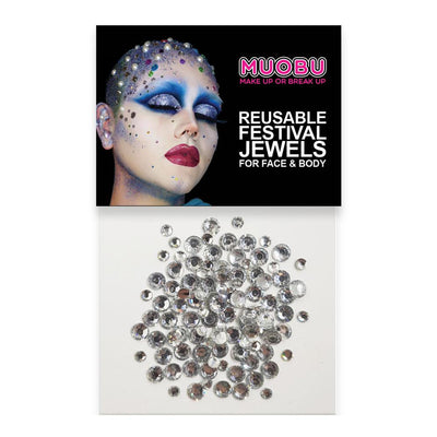 MUOBU Silver Diamantes - Face & Body Gems (Mixed Size Pack) - MUOBU