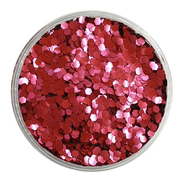 MUOBU Biodegradable Blush Red Glitter (Mini Hexagon Metallic Glitter) - BioBlood Drops - MUOBU