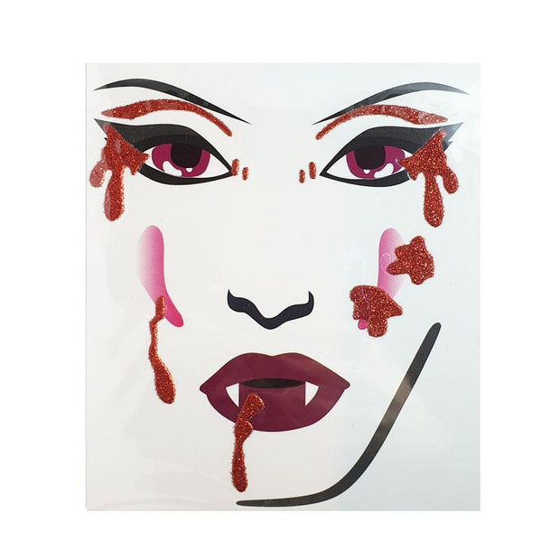 Henbrandt Halloween Glitter Blood Face Stickers - Set 2 - MUOBU