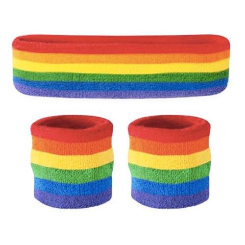 MUOBU Gay Pride Rainbow Sweatbands & Headband Set - MUOBU