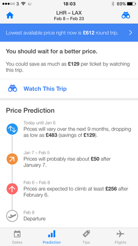 example of flight price predictions from hopper iphone app