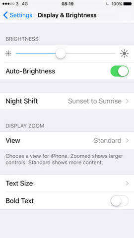 iOS 9 brightness settings
