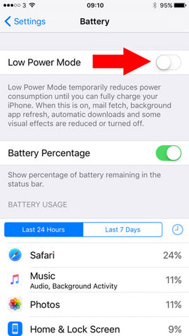 use low power mode to increase battery life on iphone