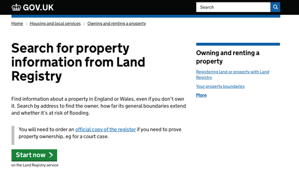 uk government property information search