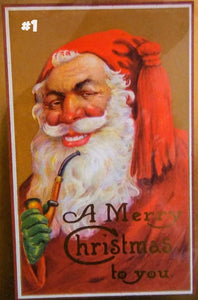 Creepy Santas Vintage Style Greeting Card