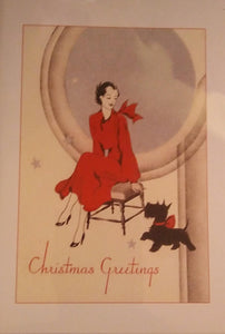 """Christmas Greetings"" Deco Style Greeting Card"