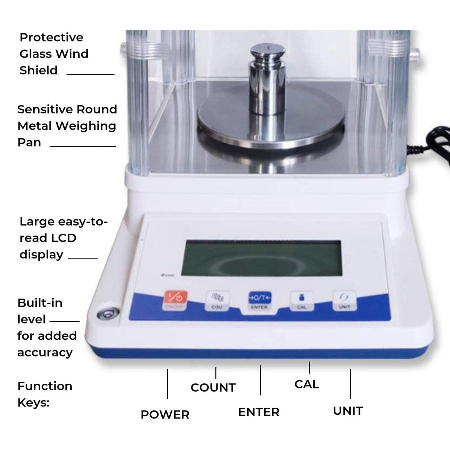 Digital Analytical Balance | 100g x 1mg | 600g x 10mg - Fristaden Lab