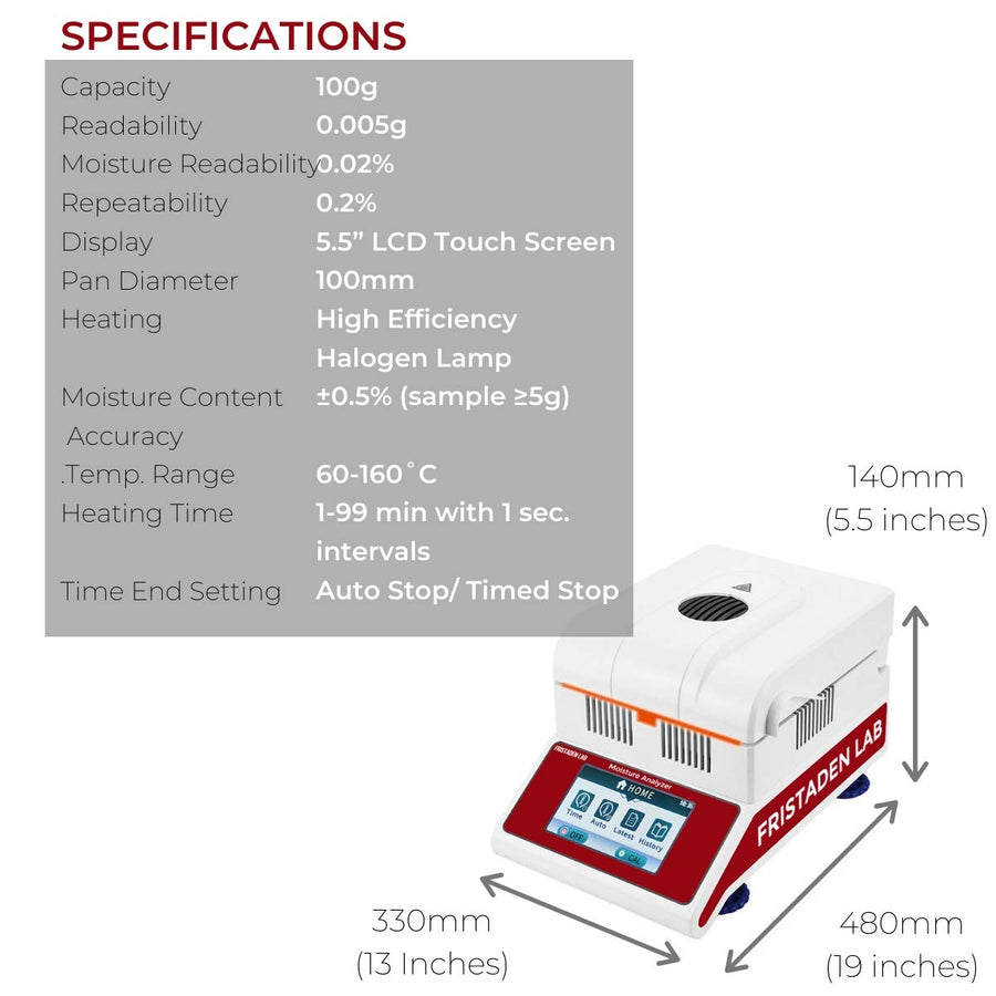 Halogen Moisture Analyzer | 0.005g Accuracy | 100g Capacity | 0.02% Moisture Readability - Fristaden Lab