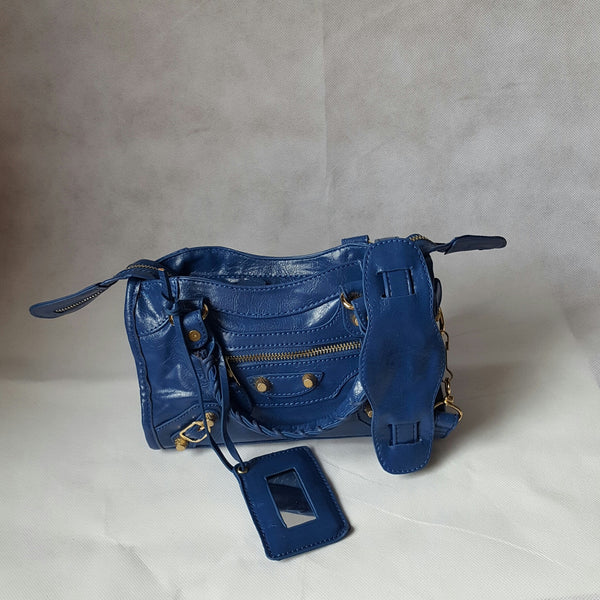 Mini Royal Blue Stud Bag (Gold Colour Stud)