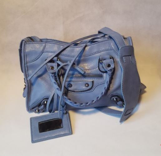 Medium Powder Blue Stud Bag (Metal Stud)