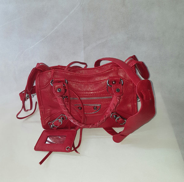 Mini Red Bag (Silver  Stud)