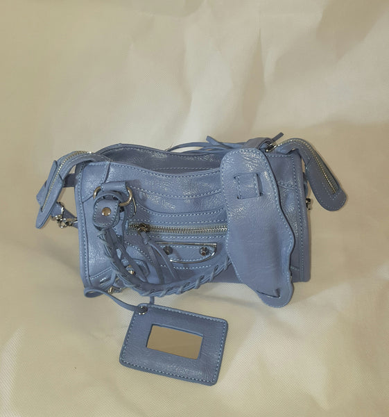 Mini Powder Blue Stud Bag (Silver Stud)
