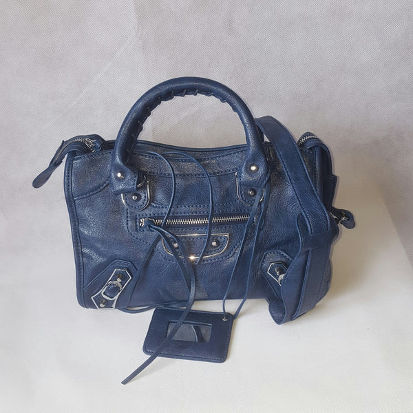 Medium Royal Blue Stud Bag (Silver Stud)