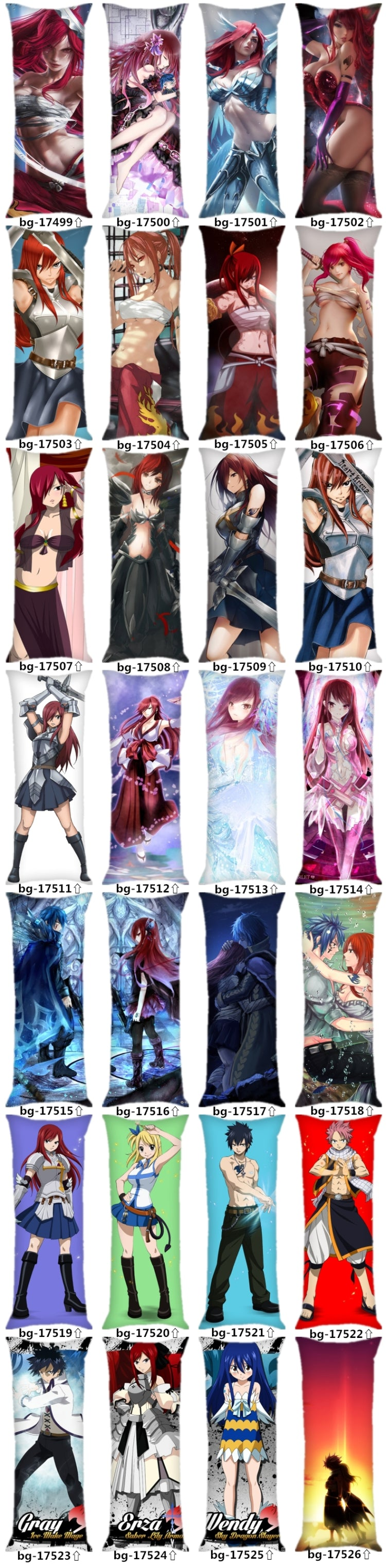 Fairy Tail Body Pillow Dakimakura Case