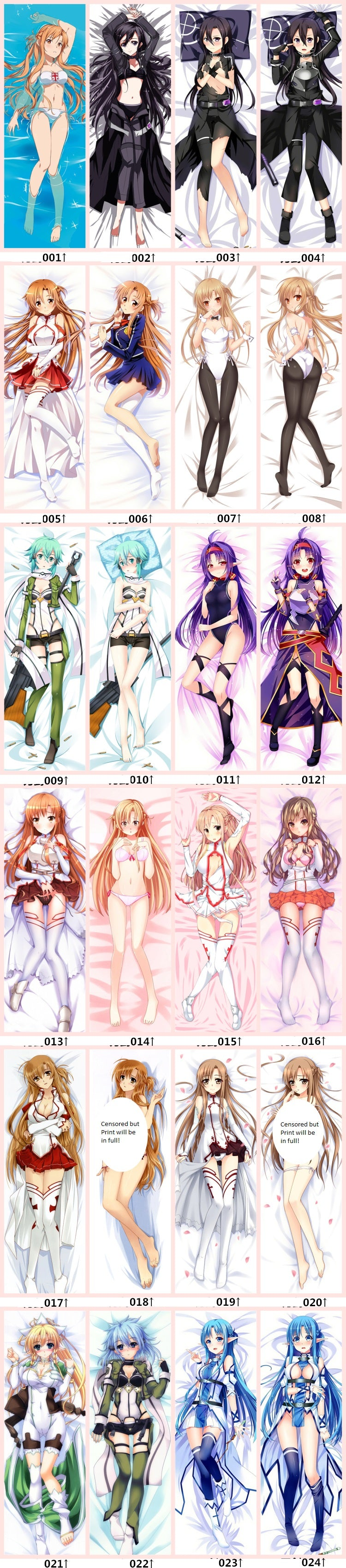 Sword Art Online Body Pillow - design options