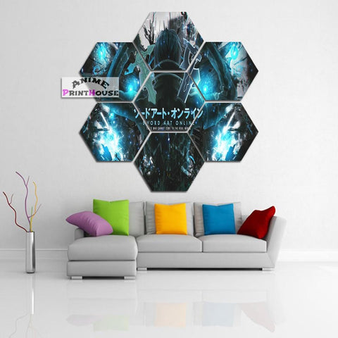 Sword Art Online Logo Canvas Print with Kirito | 1 to 7 Pieces