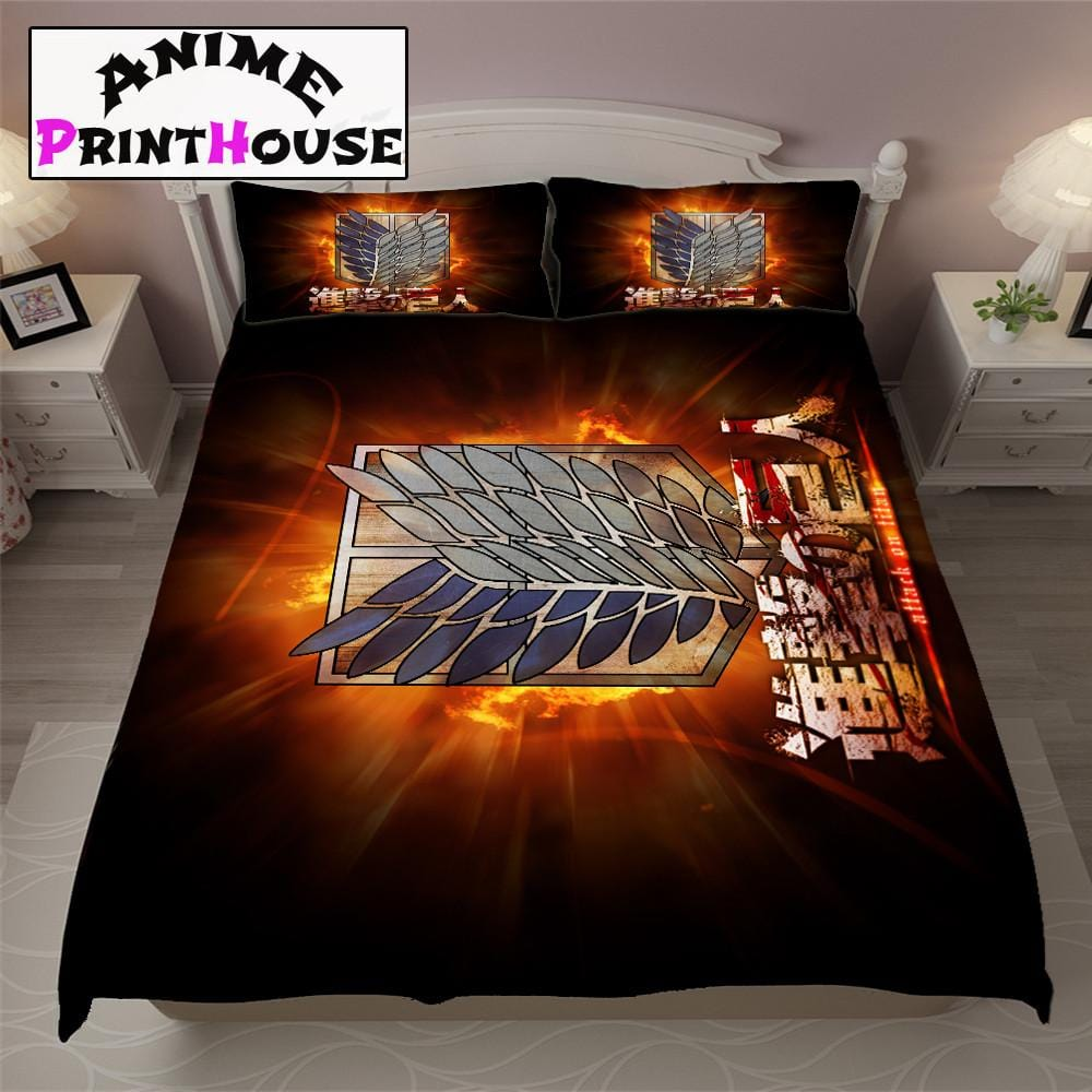 attack on titan logo bed sheets covers blanket online store