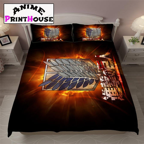 Attack on Titan Logo Bed Sheets, Covers & Blankets