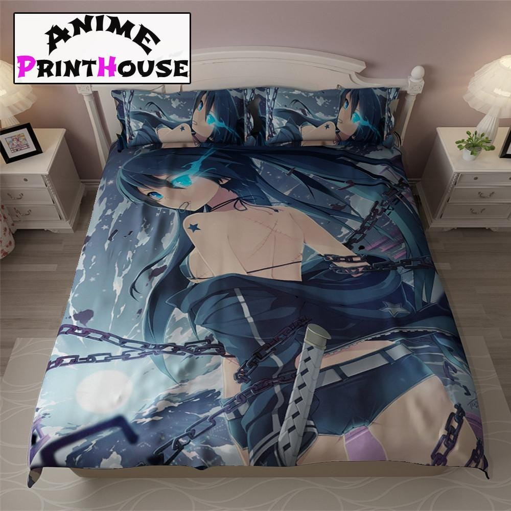 black rock shooter bed set blanket covers pillows anime print