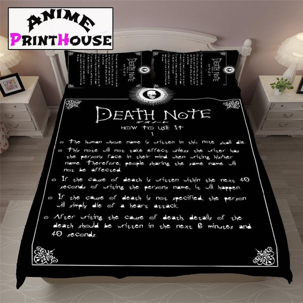 Death Note Bed Set, Cover, Blanket | Note Sample