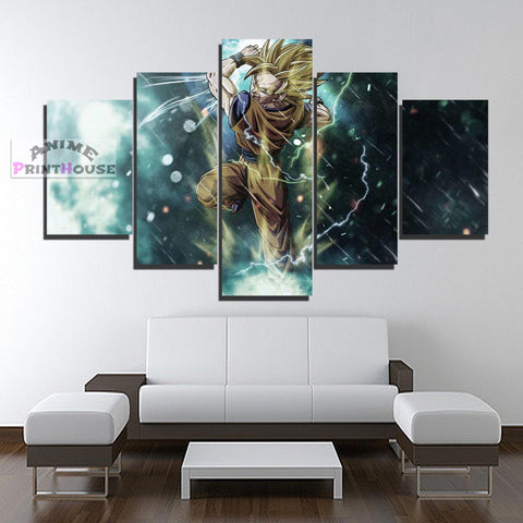 Dragon Ball Canvas Print, Goku Rage in Rain | 1 to 5 Pieces