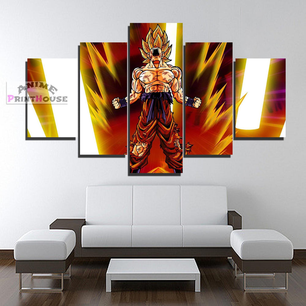 Dragon ball z canvas painting yelling goku 1 to 5 pieces