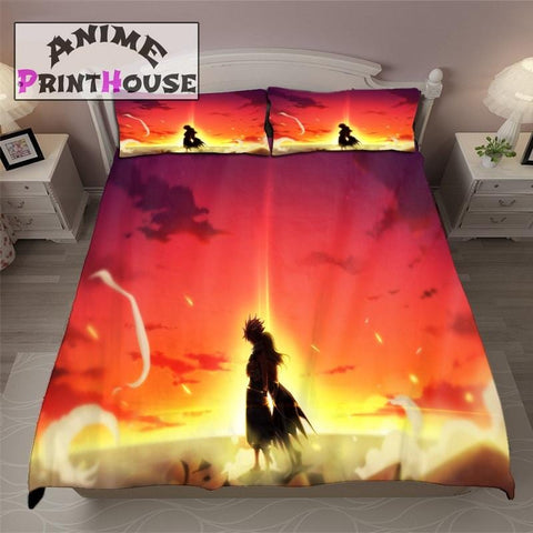 Fairy Tail Bed Sheets with Nalu Sunset Hug