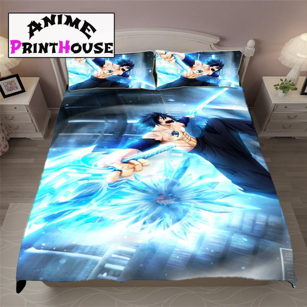 Fairy Tail Blanket & Bed Set, Gray themed bedding