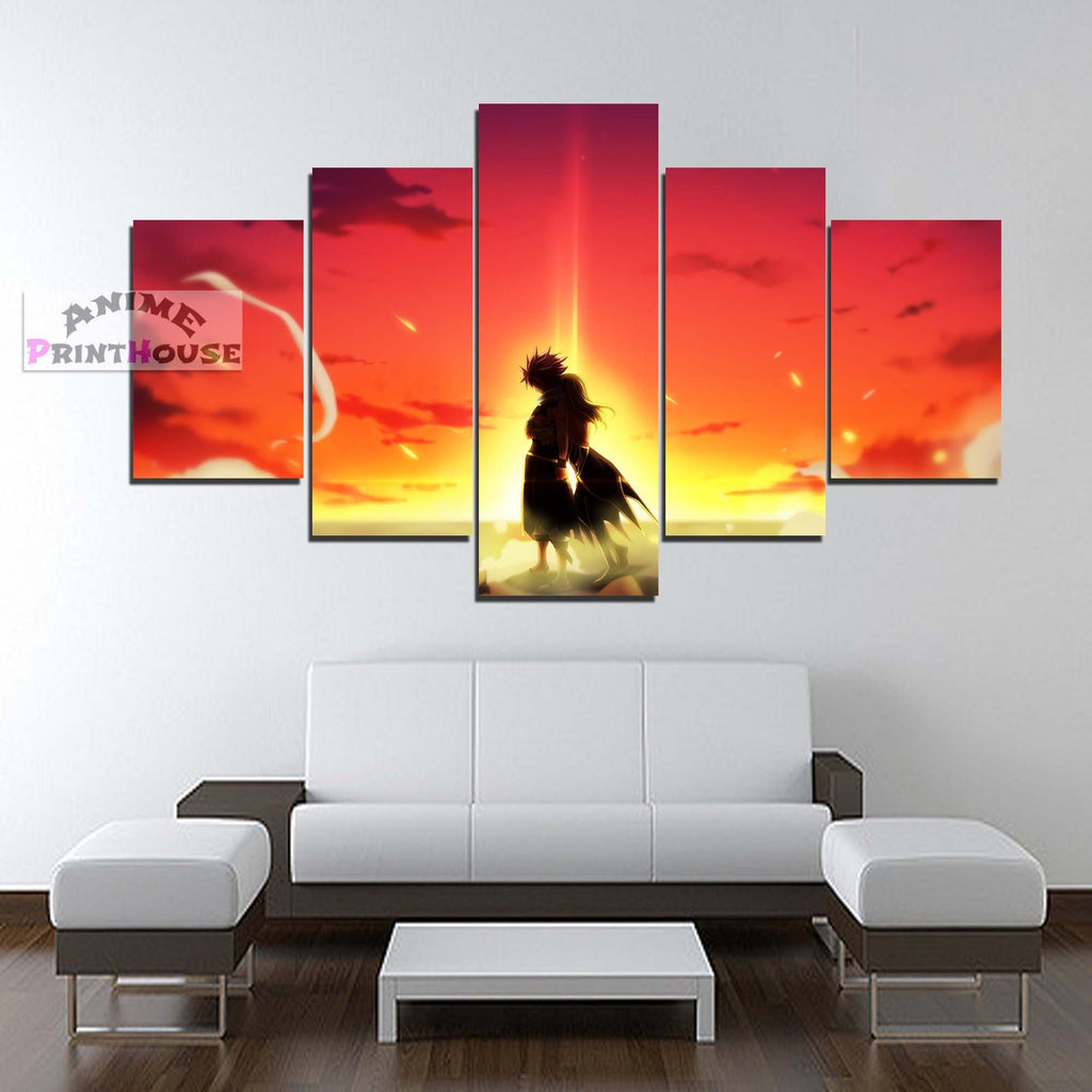 Fairy Tail Canvas Paint Wall Decor Natsu Lucy Sunset Anime Print House