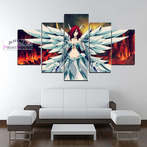 Fairy Tail Canvas Painting Erza Scarlet Heaven's Wheel Armor