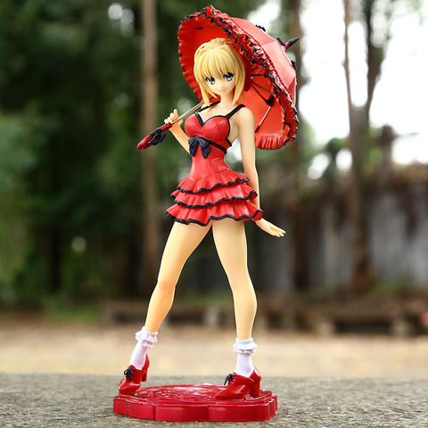Fate Saber Nero Dress with Red Umbrella 25CM Action Figure