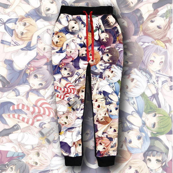 Kantai Collection | One side printed Milk Silk 3D Joggers - Anime Print House