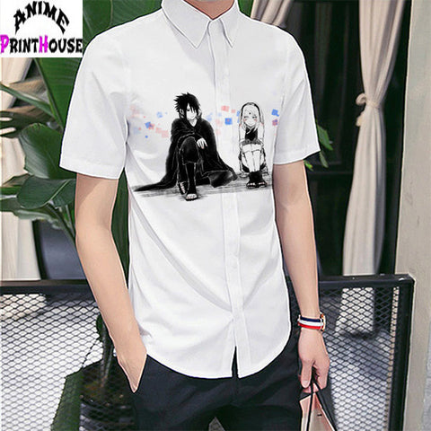 Naruto Short Sleeve Shirt | Sakura & Sasuke - Anime Print House