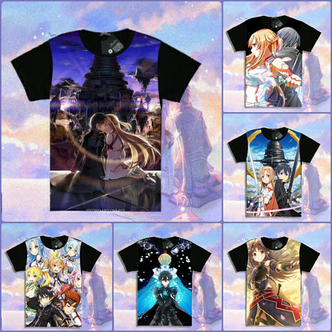 Sword Art Online Black Printed T-Shirts | Short & Long Sleeve in 6 Designs - 1