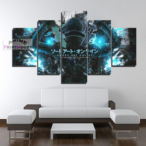 Sword Art Online Logo Canvas Print with Kirito | 1 to 5 Pieces