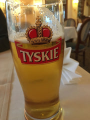 Glass of Tyskie Polish Beer