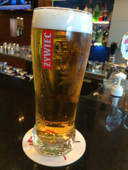 zywiec polish beer in a zywiec beer glass