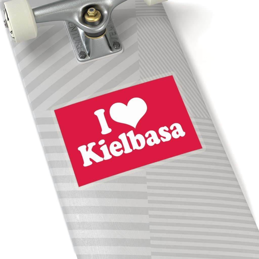 "I Love Kielbasa Die-Cut Sticker - 6x6"" / Transparent - Polish Shirt Store"