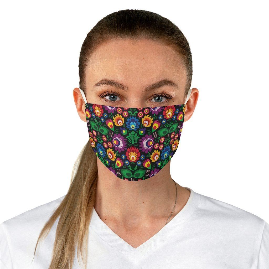 Dark Polish Floral Fabric Face Mask - One size - Polish Shirt Store