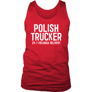 Polish Trucker 24-7 Kielbasa Delivery - District Mens Tank / Red / S - Polish Shirt Store