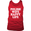 Polish Wife Happy Life - District Mens Tank / Red / S - Polish Shirt Store