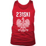 Michigan Polish Pride Tank Tops - Area Code 231 - District Mens Tank / Red / S - Polish Shirt Store