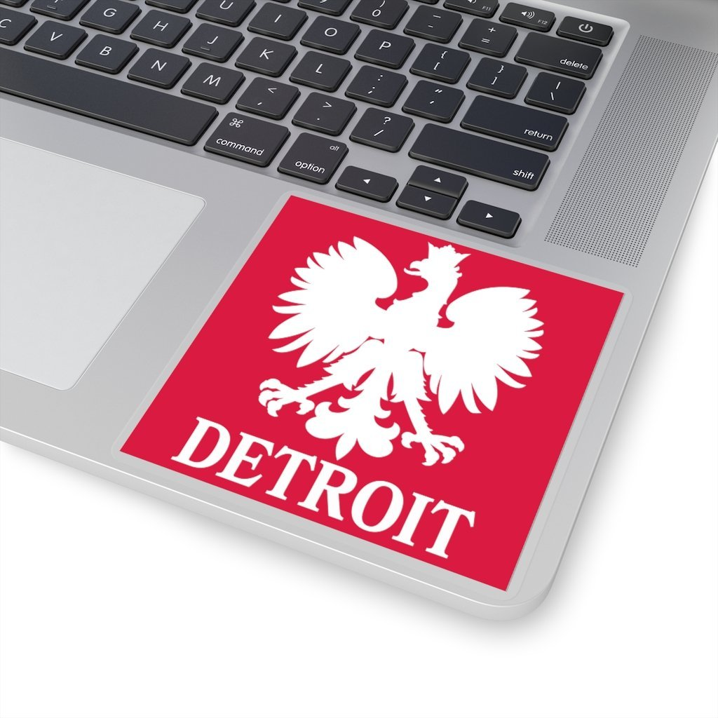 "Detroit Michigan Polish Square Sticker - 4x4"" / White - Polish Shirt Store"